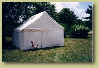Marquee tent with closed doors