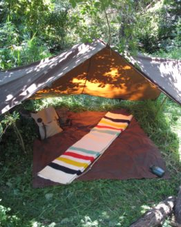 Oilskin tarp set out in Africa