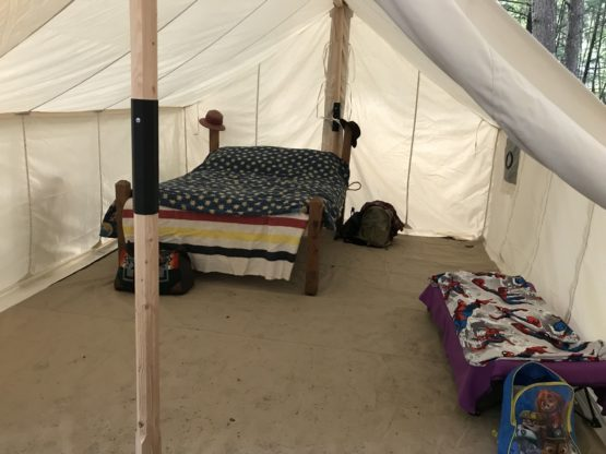 Interior of a wall tent